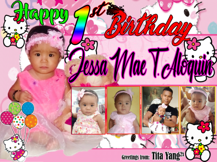 1st Birthday Tarpaulin Design in Hello Kitty Inspired Theme