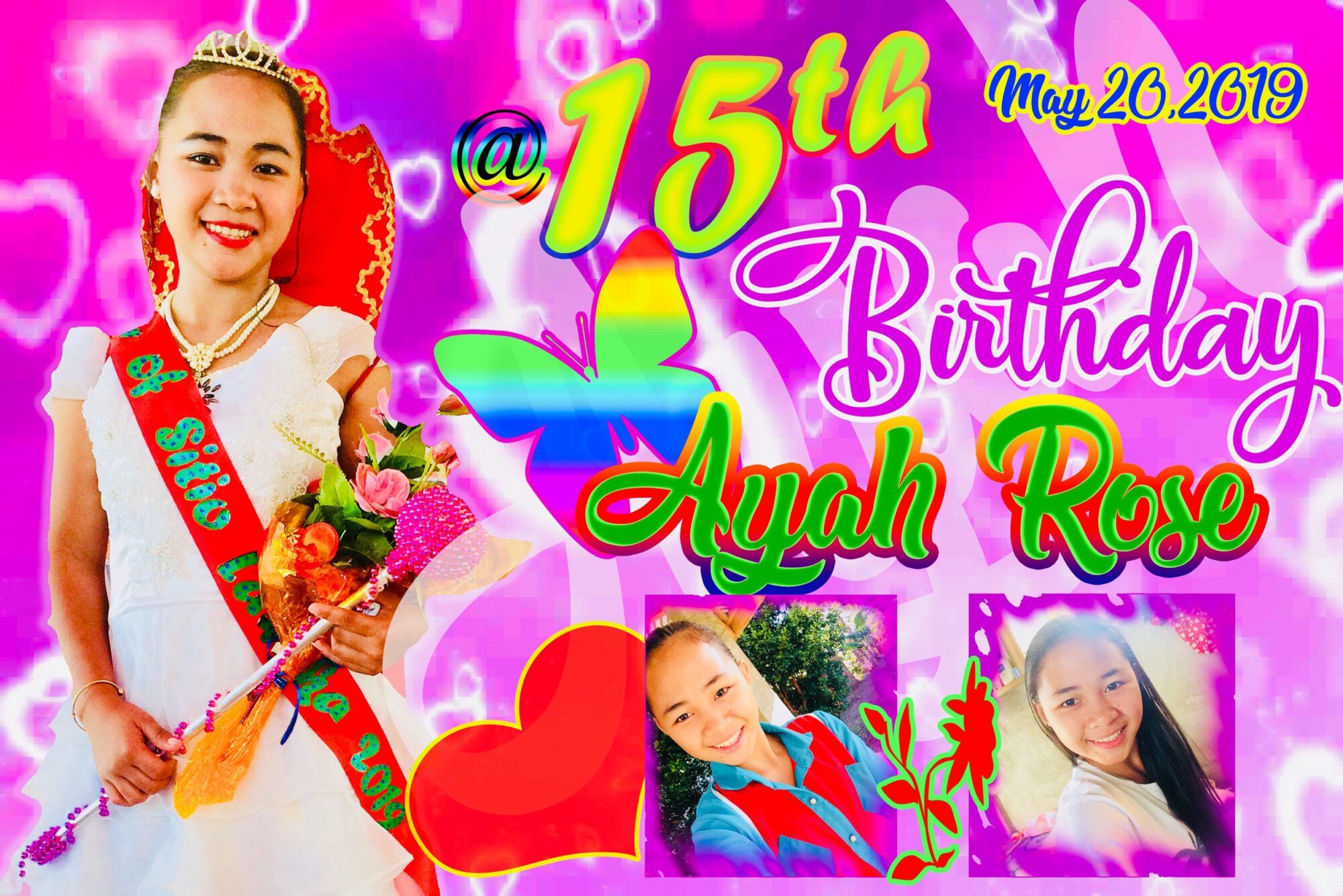 15th Birthday Tarpaulin Design butterflies theme