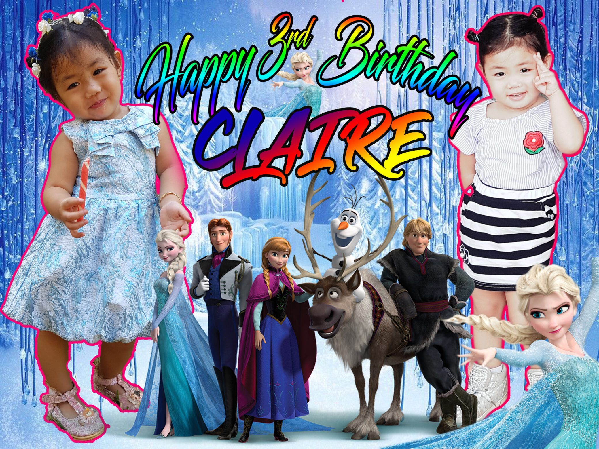 3rd Birthday Tarpaulin Design in Frozen Theme