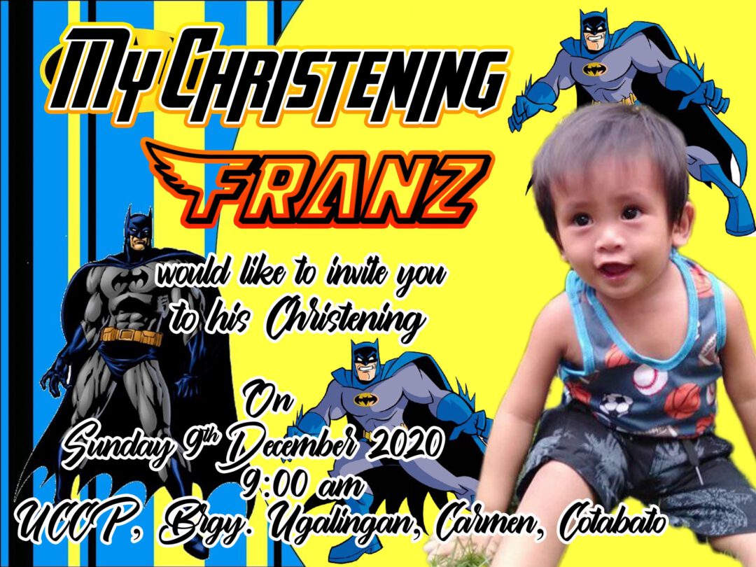 Batman Theme Christening Invitation Design