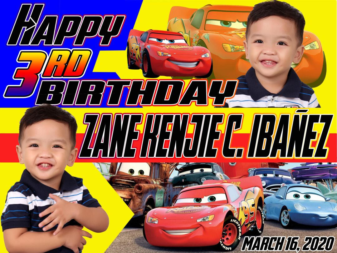 The Cars Lightning Mc Queen 3rd Birthday Tarpaulin Design