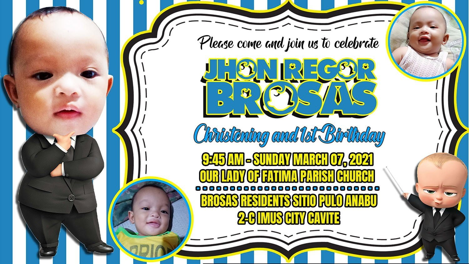 Boss Baby Invitation Template, Boss Baby Invitation Template for Birthday and Christening: FREE PSD Download, JTarp Design